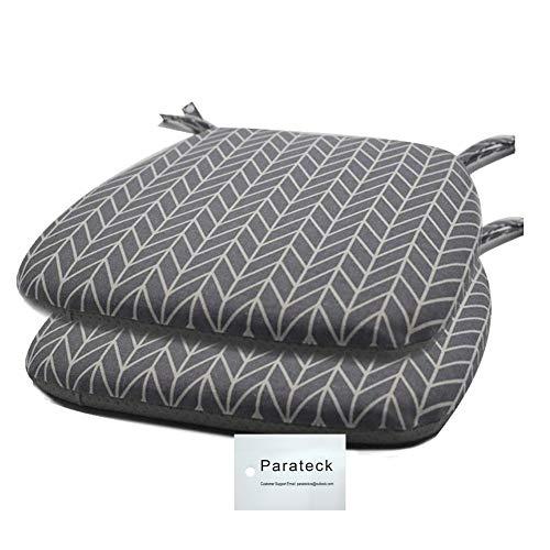 2 almohadillas de comedor con lazos de espuma viscoelástica para asiento de silla de jardín, antideslizante, 45 x 42 cm (gris)