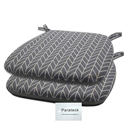 2 of Dining Chair Pads with Ties Memory Foam Seat Cushion Non Slip Garden Chair Cushion Seat Pads 45 x 42cm (Grey)