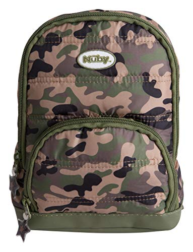 Nuby Quilted Camo Backpack with Safety Harness Leash, Child Baby Toddler Travel