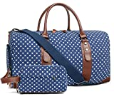 Oflamn Duffle Bag Canvas Leather Weekender Overnight Travel Carry On Tote Bag with Shoe Compartment and Toiletry Bag...
