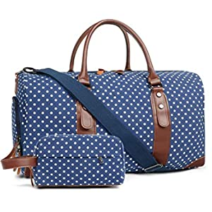 Oflamn Duffle Bag Canvas Leather Weekender Overnight Travel Carry On Tote Bag with Shoe Compartment and Toiletry Bag (Blue White Dots)
