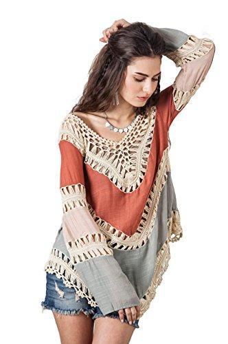 Vanbuy Women's Boho V Neck Crochet Tunic Tops Long Sleeve Hippie Gypsy Tops Beach Cover up Z01-Orange