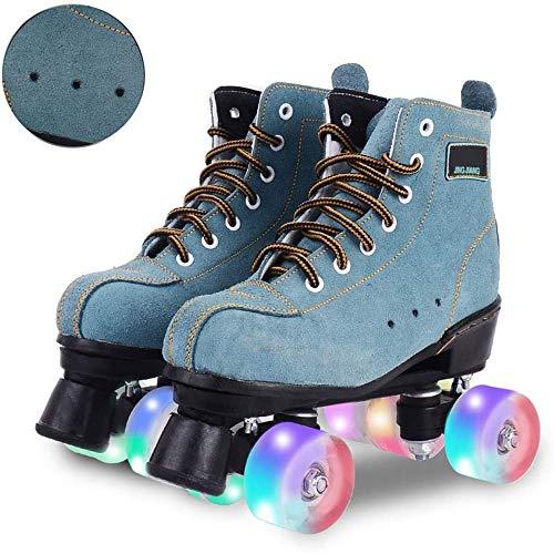 MISTLI Artistic Retro Rollschuhe Disco Roller Skates Damen Klassische Quad Quad Skates Wildleder Unisex Erwachsene Jugendliche Rollschuhe Mit 4 Rädern LED,Blau,39EU