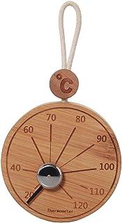 Fenteer Bambou Ronde Sauna Thermomètre Hygromètre Celsius Température Mesure Mètre Tenture