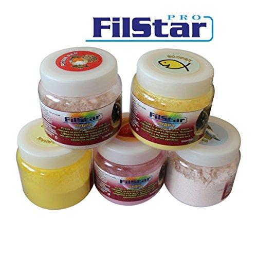 60g FILSTAR CARP stark haftender Protein Bait Powder Dip Pulverdip Boilie Aroma Fisch / hellbraun