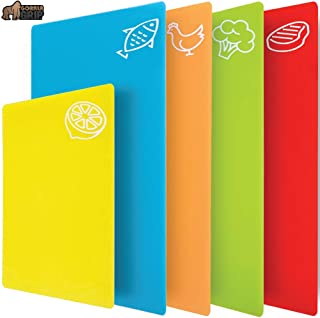 Gorilla Grip Original Set of 5 Flexible Plastic Cutting Boards, 4 Large Plus Bonus Small Board, BPA Free, Gripped Backing, Dishwasher Safe, Non Porous, Durable Chopping Mats, Food Icons, Multi Color