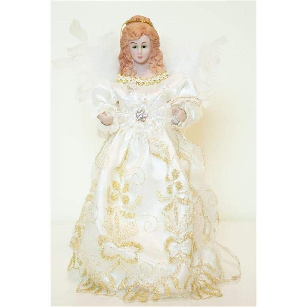 Season Designs 8 Ivory Trimmed with Gold Angel and Snowflake Christmas Tree Topper