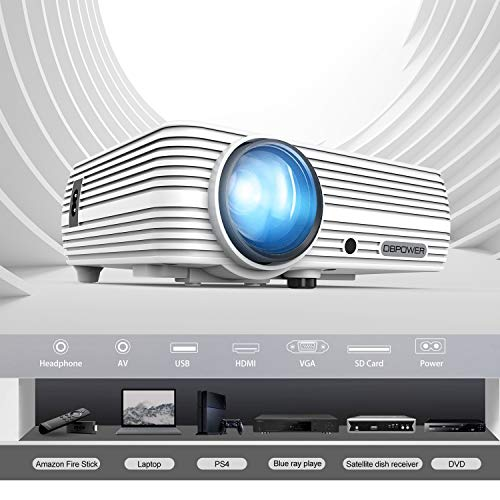 Projector, DBPOWER Mini Portable Video Projector 50,000 Hours LED Full HD Projector 1080P Soupported, Compatible with HDMI VGA AV USB TF