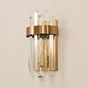 LifeX Luz de pared de cristal de lujo Hotel moderno Lámpara de pared de oro Sala de estar Fondo de TV E14 Base de iluminación de la pared Dormitorio de la lámpara 2 luces de la pared para el pasillo P