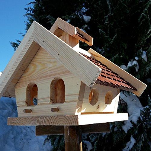 Vogelhaus-XL Braun- Vogelhäuser-Vogelfutterhaus Vogelhäuschen-aus Holz Wetterschutz Putzklappe - 3