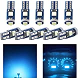 YongMing T5 Ice Blue 2721 74 37 17 70 286 Dashboard Instrument Interior Lamps Guage Cluster Bulbs Automotive Ignition Lights 3030 Chips 3-SMD Pack of 10