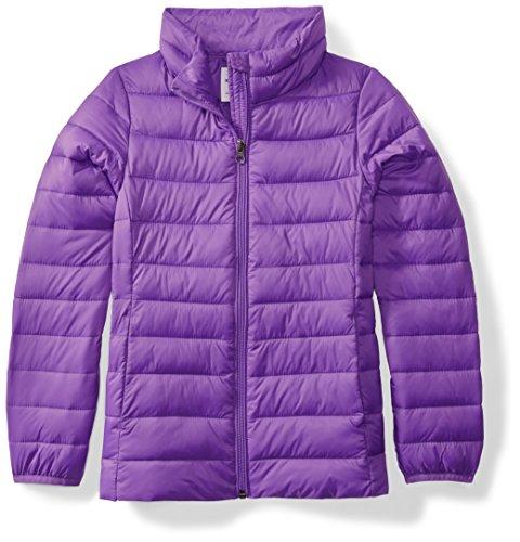 Amazon Essentials Girls' Light-Weight Water-Resistant Packable Mock Puffer Jackets, Purple, Medium