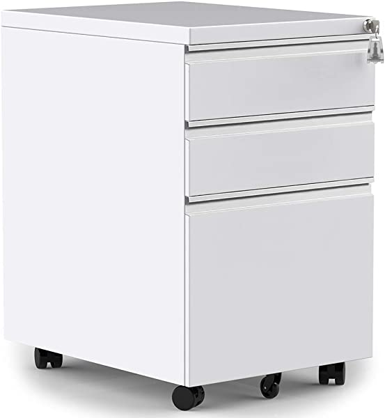 Merax 3 Drawer Mobile File Cabinet With Keys Fully Assembled Except Casters White