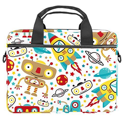 Bolsa para portátil de 13.4 a 14.5 pulgadas, maletín de negocios, bolso de mensajero para ordenador, tablet, funda para hombres, nave espacial, cohetes, galaxia, planeta, robot de juguete
