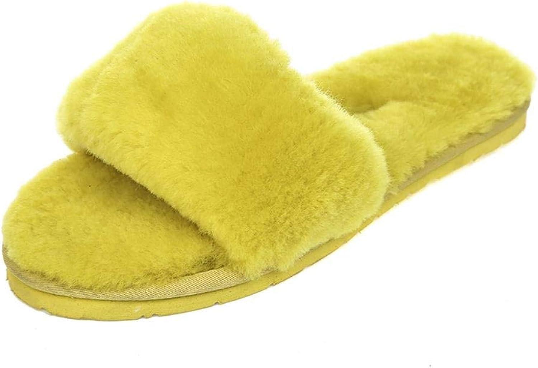 Fuxitoggo Schaffell Wolle eine Flache Hausschuhe zu Hause Hausschuhe Winter Wolle Plüsch Home Damenschuhe 2 3 4 5 6 7 8 9 10 11 12 13 14 35 36 37 38 39 (Farbe   Gelb, Gre   37)