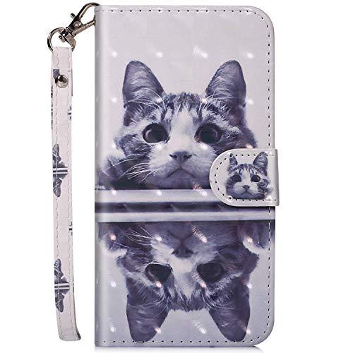 Felfy Kompatibel mit iPhone 5C Hülle Tasche Leder PU Handyhülle 3D Creative Bunt Muster Leder Wallet Hülle Flip Cover Klapphülle Brieftasche Lederhülle mit Kartenfächer - Katze