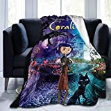 Coraline Kids Adults Ultra-Soft Micro Fleece Blanket Throw All Season Fuzzy Lightweight Throw Blankets for Office Company Home Couch Bed Sofa