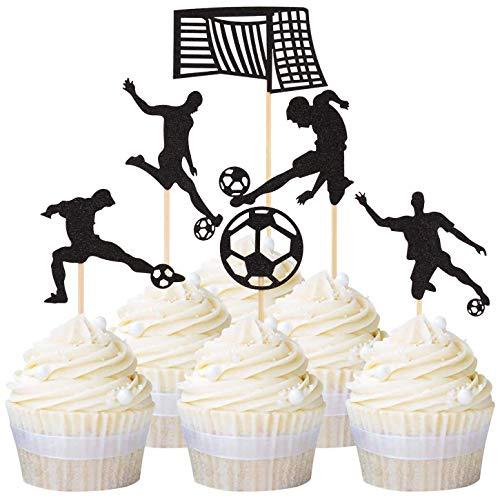 Unimall Global 24 unidades de decoración para cupcakes con diseño de fútbol, fútbol, decoración de cupcakes, decoración deportiva, para fiestas, decoración de deportes