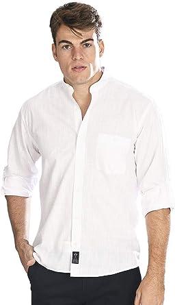 Camisa Manga Larga con Tejido Tipo Lino Blanco y Cuello Mao ...