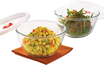 Borosil - Basics Glass Mixing Bowl with lid - Set of 2 (900ml) Microwave Safe