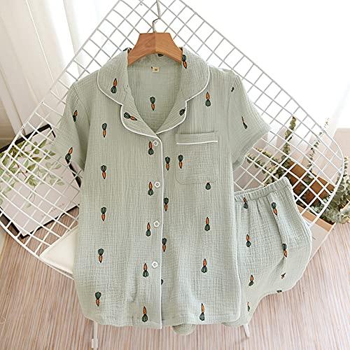 YHWW Ropa de Dormir,Pareja de Verano Traje de Pijama de algodón para Mujer Color sólido Simple Camisa de...