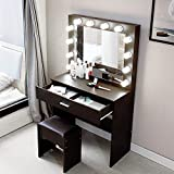【US Fast Shipment】Vanity Set, Dressing Table Vanity Makeup Table with Lighted Mirror Cushioned Stool Dresser Desk with Large Drawer for Women Wood Furniture Christmas Valentine's Day Gift (Walnut)