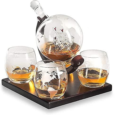 Whisky Globe Decanter Set, Decanter In Vetro Con 4 Bicchieri Da Whisky Globe Per Liquore, Scotch, Bourbon, Vodka - 850 Ml, Bottiglia Di Vino Artigianale