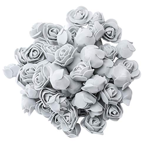 joyMerit 100 Stück Künstliche Schaum Rose Schaumrosen Foamrosen Blumenköpfe Rosenköpfe Dekoration - Grau
