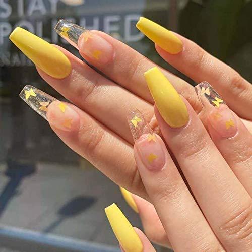 Brishow Sarg Künstliche Nägel Lange Falsche Nägel Gelb Schmetterling Ballerina Acryl Drücken Sie auf die Nägel Full Cover 24 Stück für Frauen und Mädchen