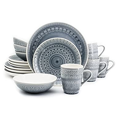 Euro Ceramica Fez Collection 16 Piece Ceramic Reactive Crackleglaze Dinnerware Set, Service for 4, Teardrop Mandala Design, Gray