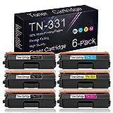 Compatible Toner Cartridge 6 Pack (3BK+1C+1Y+1M) TN-331 Replacement for Brother DCP-9050CDN / 9055CDN / 9270CDN / L8450CDW, MFC-L9550CDW / L8850CDW / 9460CDN, HL-L9200CDW/CDWT / L8250CDN Printers.