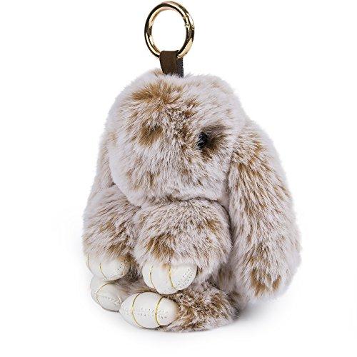 Porte-clés Yodensity en fausse fourrure en forme de lapin - Peut être utilisé comme pendentif, décoratif ou ornement, snow & khaki