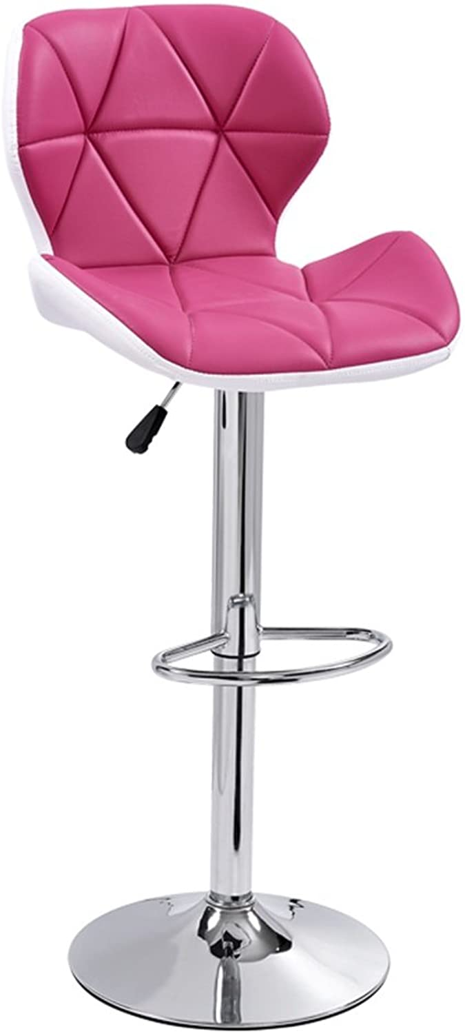 Bar Kitchen Breakfast Dining Chair High Stool Can Lift Up and Down Swivel Business Hall Chair Pink Sturdy and Beautiful (Size   C)