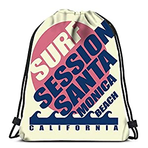 51vd6F8uBAL. SS300  - BOUIA Mochilas con cordón Mochila Surf Playa de Santa Mónica California Surfers Mochilas de Viaje Mochila Escolar Tote