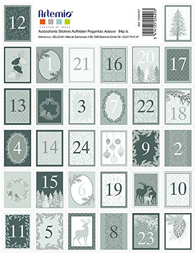Artemio Lot de 64 Timbres Autocollants, Vert Mousse/Blanc, 25 x 35 mm