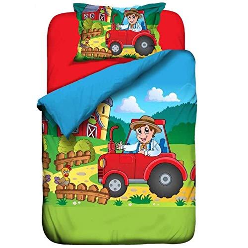 Aminata Kids - Kinderbettwäsche 100x135 Traktor Bauernhof 100x135 Bettwäsche Kinder Jungen