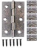 fuxxer® - 6 cerniere in metallo anticato (ferro/bronzo), per armadi, cassette in stile vintage rustico, 62 x 40 mm, set da 6 pezzi comprensivo di viti di montaggio