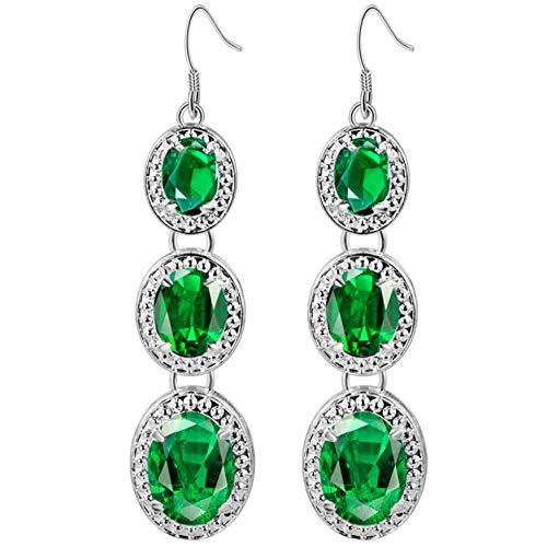NA Women Dangle Drop Earrings Material Copper, Silver-Plated, Green Crystal Zircon Long Earrings Earrings Statement Ear Jewellery