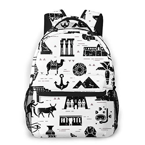 sanlianwangluokeji Dark Seamless Pattern Symbols Laptop Schoolbag Casual Super Durable Backpack Lightweight Travel Sports Backpack Unisex