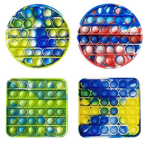 4 Pcs Pop Fidget Toy, Tie-dye Silicone Push Bubble Sensory...