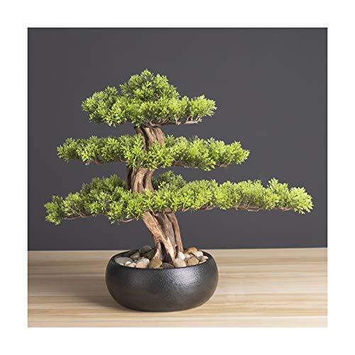 YUXI8541NO Bonsai Pflanze Realistischer Faux-Bonsai-Baum, Zimmerpflanze, schwarzer keramischer Rundtopf und Kieselstreifen Desktop-Dekoration Neuheit Geschenke (H14.2) Simulation Bonsai (Color : A)
