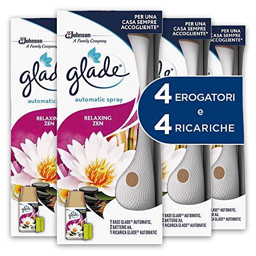 Glade Automatic Spray Base con Ricarica, Fragranza Relaxing Zen - Formato Scorta - 1 Confezione con 4 Erogatori + 4 Ricariche - 540 g