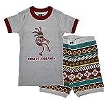 Lazy One Short-Sleeve Summer PJ Sets for Girls and Boys, Kids' Pajama Sets (Kokopelli, 8)