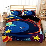 Guoting 3D Dormitorio Niña Ropa De Cama Para Cunas Dibujos Animados Azul Universo Estrellas Galaxia...