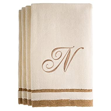 Monogrammed Gifts, Fingertip Towels, 11 x 18 Inches - Set of 4- Decorative Golden Brown Embroidered Towel - Extra Absorbent 100% Cotton- Personalized Gift- For Bathroom/Kitchen- Initial N (Ivory)