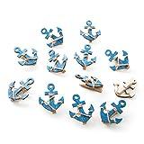 12 piezas pequeñas de ancla de barco azul y blanco de 5,5 x 4,5 cm ... pinzas decorativas de madera, mini pinzas de la ropa como decoración marítima para bodas, cumpleaños infantiles, etc.