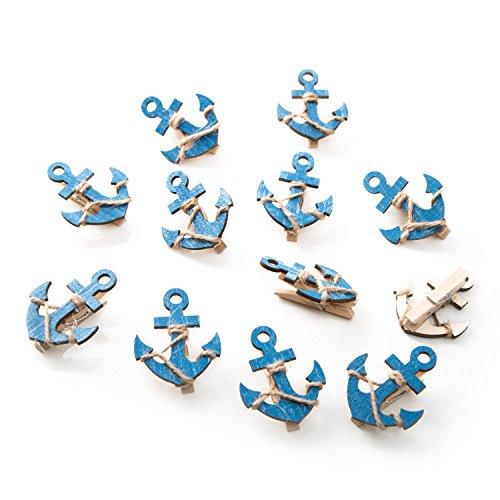 12 Stück blaue Holz Anker Deko Klammern mit 5,5 x 4,5 cm; hübsche Wäscheklammern zum Tüten verschließen, Fotohalter etc.