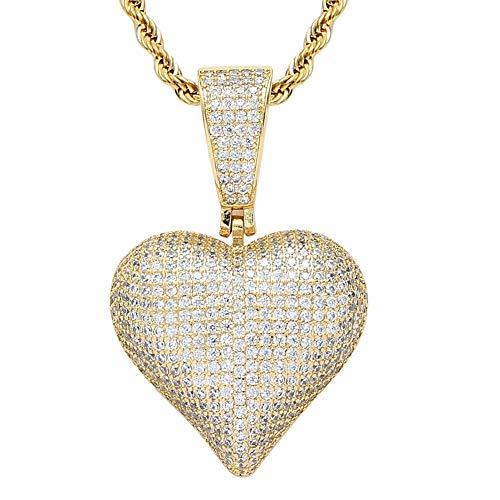 Dixinla Lujoso Collar Colgante Corazón de Amor Plateado con Circonita Cúbica Helada, Mujeres y Niñas para el Día de San Valentín, Cadena Hipoalergénica para Parejas,Oro
