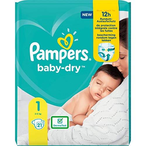 Pampers Baby-Dry Größe 1, 21 Windeln, bis zu 12Stunden Rundumschutz, 2-5kg