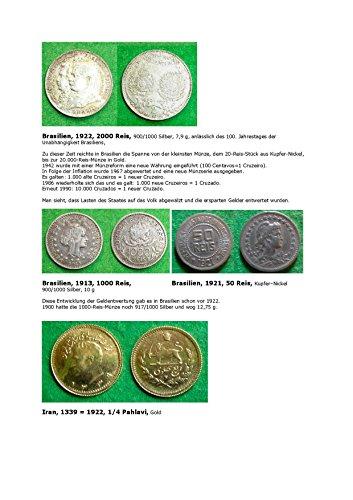 Kalenderblatt zum Jahr 1922: Zu inflationären Entwicklungen in Brasilien (50, 1000 und 2000 Reis Brasiliens von 1913, 1921  und 1922 sowie 1/4 Pahlavi Irans von 1922)